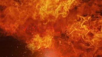 燃え盛る炎の中に浮かび上がるタイトル用テンプレート